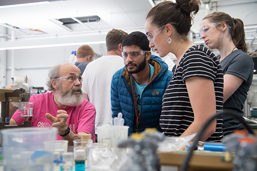 A professor teaches students in a chemical engineering lab at Oregon State University.